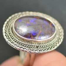 Australian Solid Boulder Opal Ring, Natural Opal, Silver, Handmade,Man or Woman