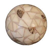 "Mosaic Ball Orb Decor Off White 3"" Diameter"