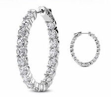 6.39 carat Round cut Diamond 14k White Gold Hoop Oval shape Earring 16 x 0.40 ct