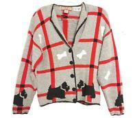 80's VTG Womens Gray Dog & Bone Hand Knit Sweater Sz S Cardigan Bay Button-Down