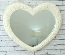 Cream Antique Roses Heart Shaped Wall Overmantle Flower Mirror 76cm X 65cm