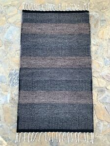 "Zapotec Oaxacan 24""x40"" Hand Woven Black Gray Home Use Weaving Wool Tapestry Rug"