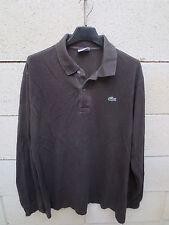 Polo LACOSTE Devanlay marron manches longues coton jersey 5