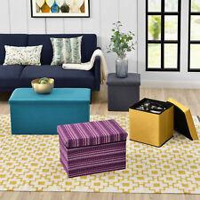 [en.casa]® Ottomane Sitztruhe Faltbox Sitzhocker Betthocker Textil Stoff Truhe