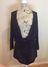 JACQUI E - Size XL - Women's Purple Draping Cardigan With Belt - 100% Cotton