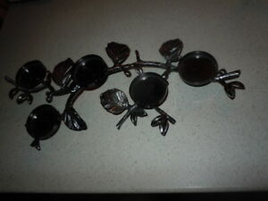 BATH & BODY WORKS SLATKIN & CO BLACK/SILVER BRANCH LEAVES 5 CANDLE VOTIVE HOLDER