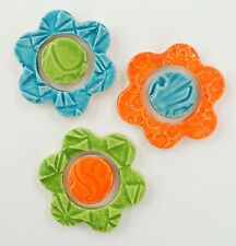 3 Ceramic Multi-Color Mosaic Flower Tiles