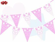 Naming Day Pink and White Polka Dots Hands & Heart Print Bunting Banner 15 flags
