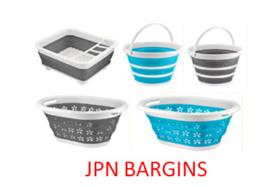 HOME+ COLLAPSIBLE FOLDING BUCKET BASKET DISH DRAINER RACK PLASTIC STORAGE NEW