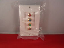 Wallplate 3 RCA component w/F  Coax Gold Plated, White.