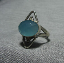925 STERLING SILVER BLUE CHALCEDONY SOLITAIRE RING (US 7.5 UK P)