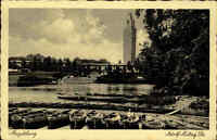 Magdeburg Sachsen Anhalt AK ~1935/40 gelaufen Partie am Adolf Mittag See Boote