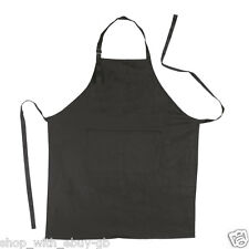Ebuygb Pack of 1 Kitchen Full Length Apron Cotton Black 70 X 85cm