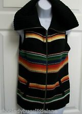 RALPH LAUREN ACTIVE SOUTHWESTERN SARAPE STRIPE FULL ZIP WOOL SWEATER VEST JACKET