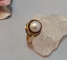 Ring GelbGold 585 14 k  6 Gramm  Echte Perlen 9 mm Handarbeit 53-54 Gr