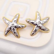 Vintage Star Fish Earrings for Pierced Ears Oversized Statement Jewellery Boho