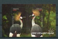 Tanzania 2015 MNH Grey Crowned Crane 2v S/S Birds Cranes Stamps