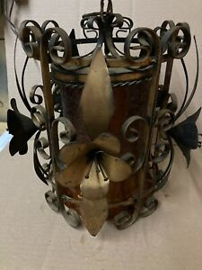 Vintage Large Gothic Medieval Spanish Iron & Amber Glass Ceiling Light Fixture