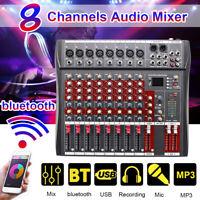 8/12 Channel 48V Phantom bluetooth Live Studio Audio Mixer Mixing Console USB