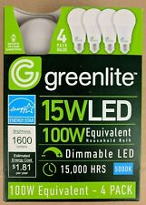 4 Pack 15W Greenlite LED 100 Watt Equivalent A Type Light Bulbs 5000K Dimmable
