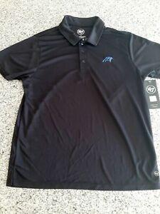 '47 Brand Carolina Panthers Ace Black Polo Shirt NFL Mens Size Large