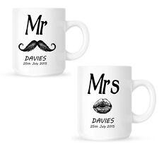 MR AND MRS WEDDING DAY MUGS PERSONALISED WEDDING GIFT TWO MUGS PAIR OF MUGS