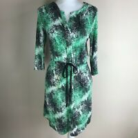 Kenar Womens Dress Green Black White Print Size M