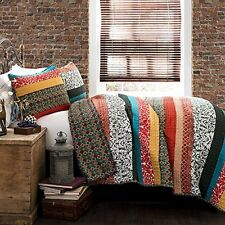 King Quilt Set 3 Piece Boho Stripe Turquoise Tangerine Bright Bold Colorful New