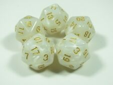 RPG Dice Set of 5 D20 - Pearl White w/gold inking