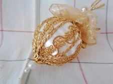 Gold on White Handmade Christmas Tree Ornament Baroque Trim & Glitter Ribbon