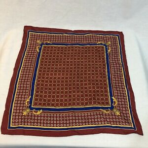 Gianni Versace Silk Red Pocket Square Handkerchief Geometric Made In Italy