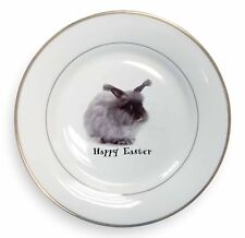 Angora Rabbit Any Wording 'Happy Easter' Gold Rim Plate in Gift Box Ch, AR-8EAPL