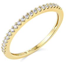 0.45 Ct Round Real 14k Yellow Gold Pavé Engagement Wedding Anniversary Band Ring