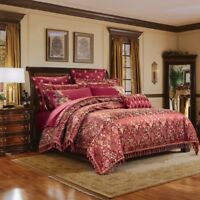 Luxury 4pc. 6pc 600TC Burgundy Floral Jacquard Silk & Cotton Duvet Cover Set