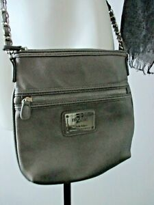 Nicole Miller gray medium pvc,polyester zippered crossbody purse