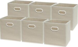 6 Pack - SimpleHouseware Foldable Cube Storage Bin with Handle, Beige