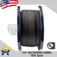 "100 FT. 100' Feet BLACK 7/16"" 11mm Polyolefin 2:1 Heat Shrink Tubing Tube Cable"