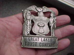 Vintage Bank Guard Hat Employee Badge Great Lakes Trust Company