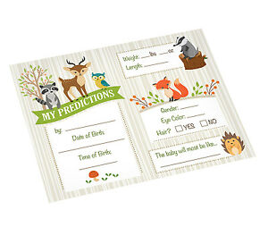 woodland theme baby shower game prediction Cards Game Baby Keepsake