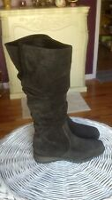 (Liz Claiborne)  Black Suede Knee High Boots Padded Insoles Size 7.5  (NEW)
