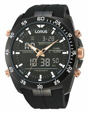 Lorus Gents Chronograph Dual Display Sports Watch Black Silicone Strap RW615AX9