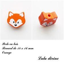 Perle en bois de 18 x 16 mm, Perle plate petite Tête de renard : Orange