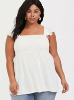 Womens Torrid White Gauze Smocked Babydoll Top Top SIZE 0 L Large (12) NWT