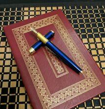 Fountain Pen Custom Flex Nib Blue Black Ink Fine (Deep Blue) w/Spares