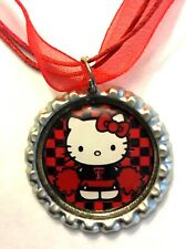 Handmade Texas Tech Hello Kitty Inspired Bottle Cap Necklace
