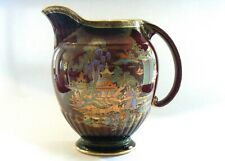 CROWN DEVON FIELDINGS LARGE CHINOISERIE JUG 1930s- CHINESE TEMPLE RUBY LUSTRE
