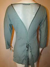 Alberta Ferretti Knit Top Sweater Blouse 42 IT 6 US Fine Wool Silk Chiffon Back