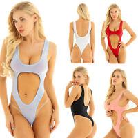 Damen Einteiler Schritt offen Bodysuit Overall Bauchfrei Bademode Schwimmanzug