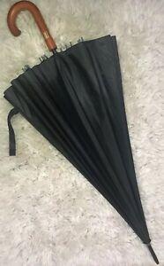 "JUMBO XL Umbrella ☂ Windproof Wooden Handle Large Quality Classic 50"" NWT $80"