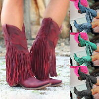 Womens Faux Suede Cowgirl Cowboy Tassel Boots Low Heel Boho Style Calf Shoes UK